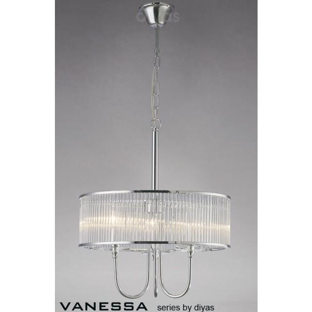 Diyas Vanessa Pendant 3 Light Polished Chrome/Crystal