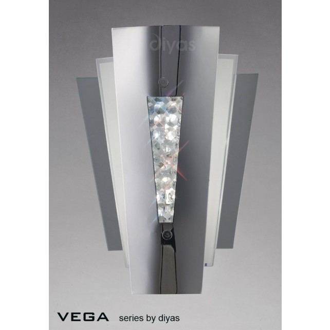 Diyas Vega Wall Lamp 2 Light Stainless Steel/Crystal