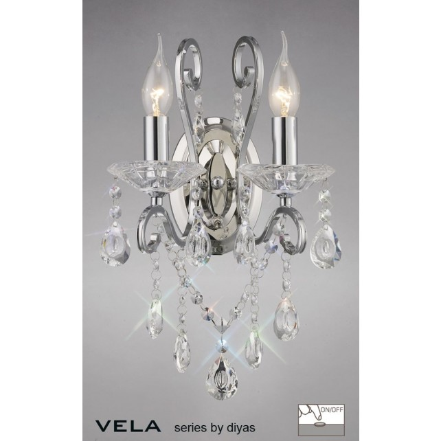 Diyas Vela Wall Lamp 2 Light Polished Chrome/Crystal Switched