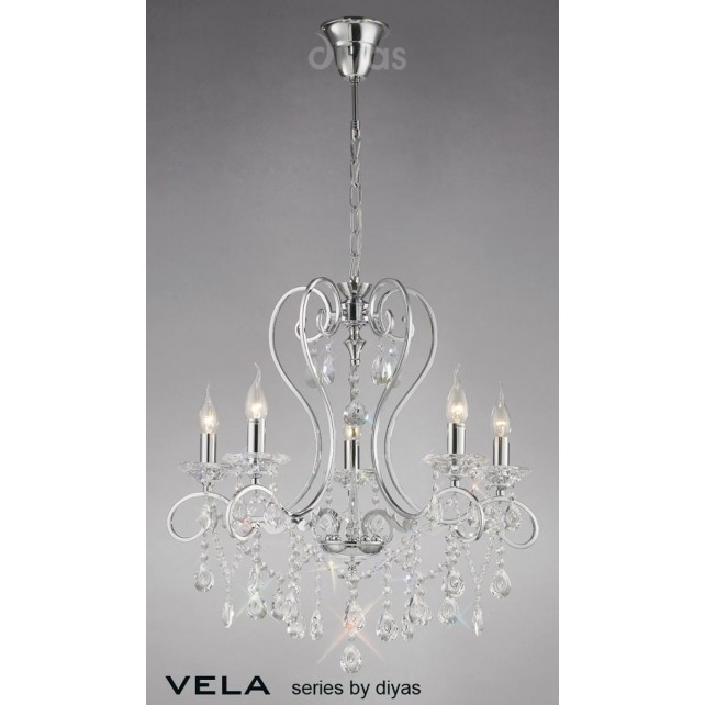 Diyas Vela Pendant 5 Light Polished Chrome/Crystal