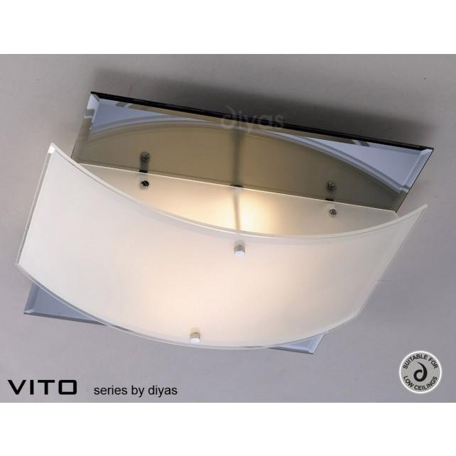 Diyas Vito Ceiling 2 Light Polished Chrome/Smoked Mirror