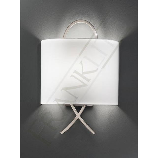 Franklite Modern Wall Light - Satin Nickel, Complete with Off-white Shade