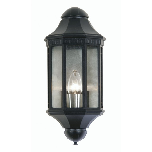 Oaks Lighting WESTMINSTER BLK L Lantern Flush Black 60W