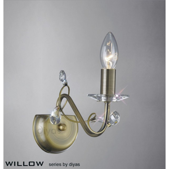 Diyas Willow Wall Lamp 1 Light Antique Brass/Crystal
