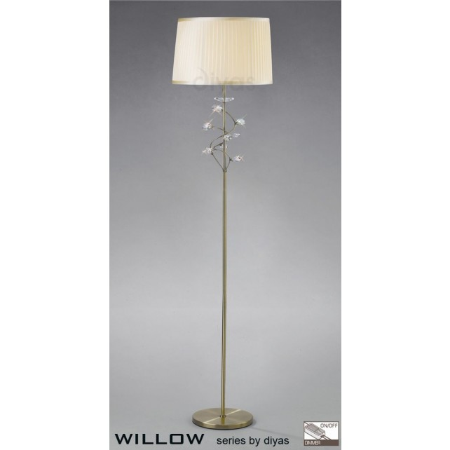 Diyas Willow Floor Lamp 1 Light Antique Brass/Crystal