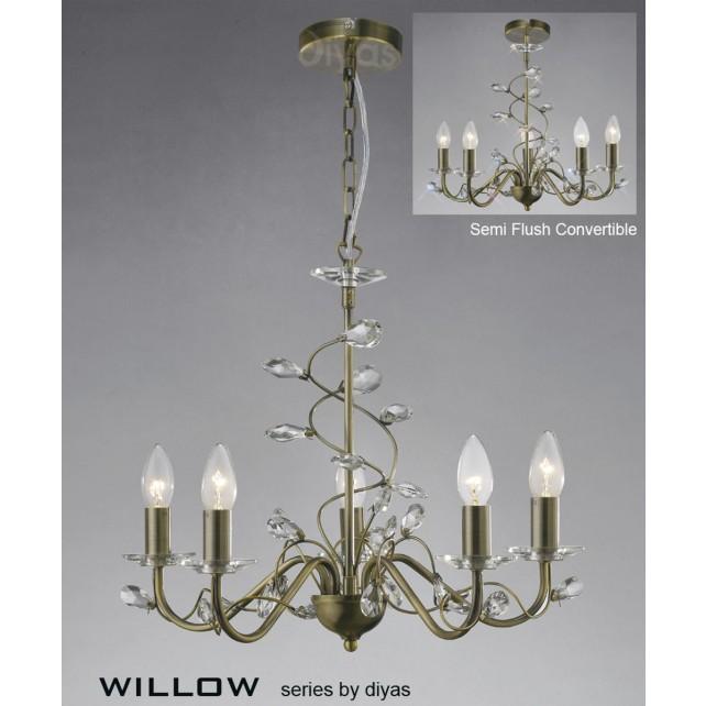 Diyas Willow Pendant 5 Light Antique Brass/Crystal