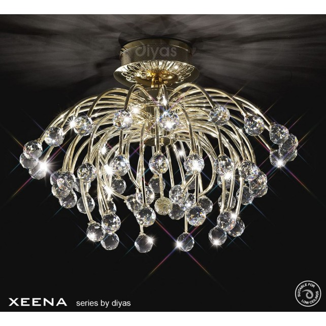 Diyas Xeena Ceiling 10 Light Gold/Crystal