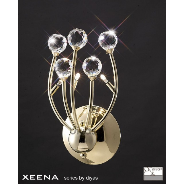 Diyas Xeena Wall Lamp 3 Light Gold/Crystal Switched