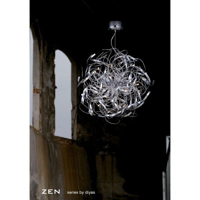 Diyas Zen Pendant 16 Light Round Polished Chrome