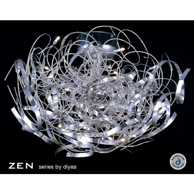 Diyas Zen Semi Ceiling 16 Light Round Polished Chrome