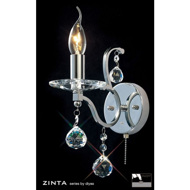 Diyas Zinta Crystal Wall 1 Light Chrome