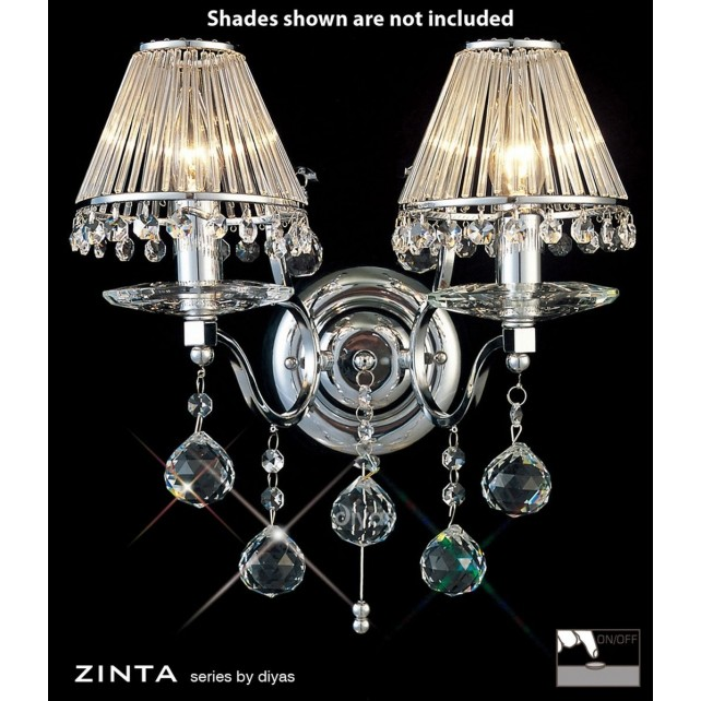 Diyas Zinta Crystal Wall 2 Light Chrome