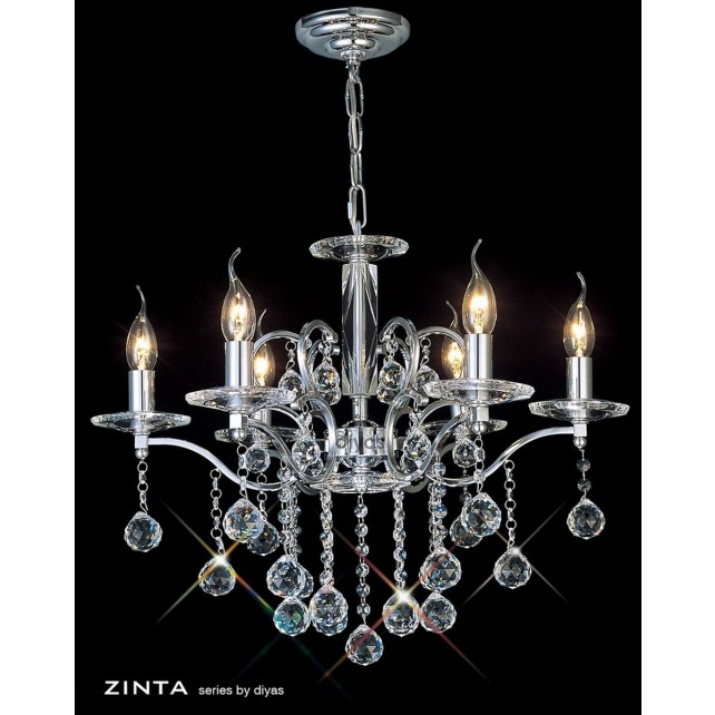 Diyas Zinta Crystal Ceiling 6 Light Chrome