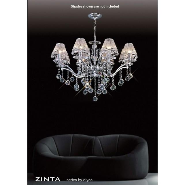 Diyas Zinta Crystal Ceiling 8 Light Chrome