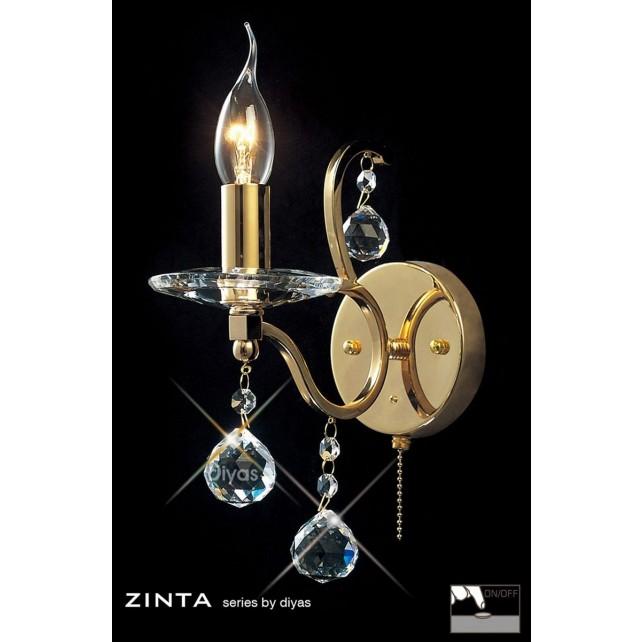 Diyas Zinta Crystal Wall 1 Light Gold Plated