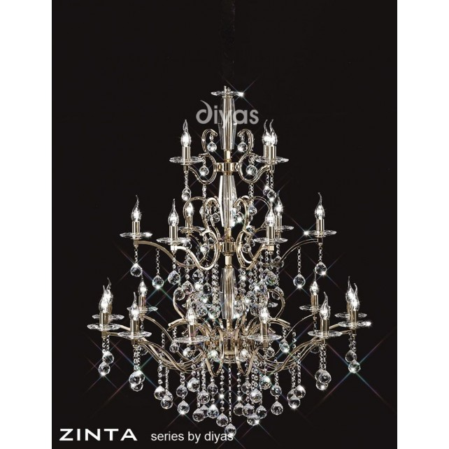 Diyas Zinta Crystal Ceiling 22 Light Gold Finish